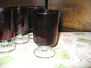 Laminarc Ruby Red/clear Stemmed Bottom 4oz Glasses
