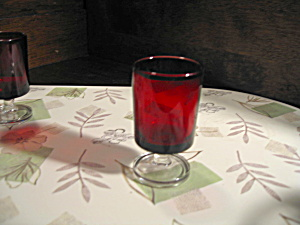 Luminarc Ruby Red/clear Stemmed Bottom Cordial Glass