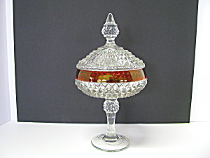 Indiana Glass Cranberry Kings Crown Candy Bowl