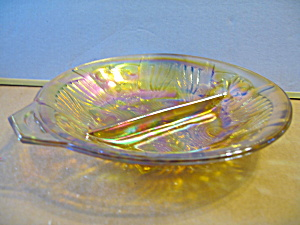 Vintage Indiana Carnival Glass Killarney Relish Dish,