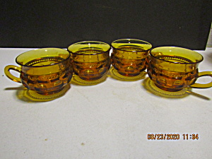 Indiana/colony Crown Color Amber Thumbprint Cups