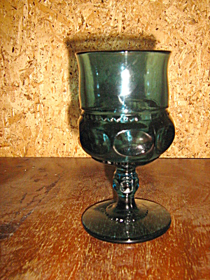 Indiana/colony Blue Thumbprint/crown Wine Goblet
