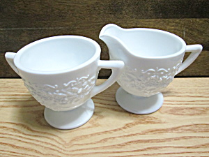 Vintage Indiana Milk Glass Open Sugar Bowl And Creamer