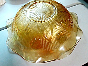 Carnival Glass Marigold Iris Herringbone Fruit Bowl