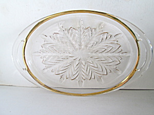 Jeannette Glass Feathers Gold Trim Tray