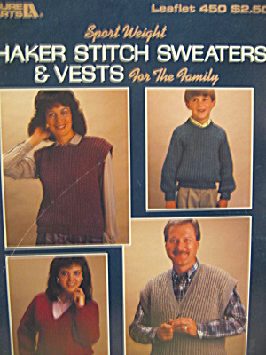 Leisure Arts Shaker Stitch Sweaters & Vests #450