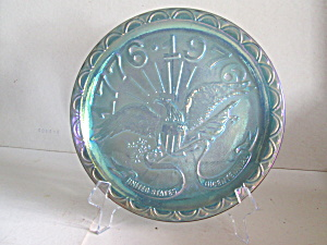 Vintage Eagle Bicentennial Blue Carnival Glass Plate
