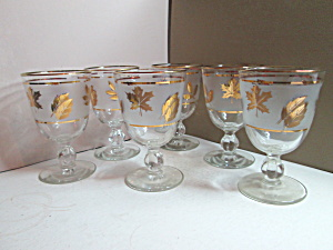 Vintage Libbey Golden Foliage Stemmed Wine Glasses