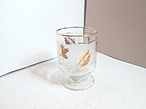 Vintage Libbey Golden Leaf Small Pedestal Glass