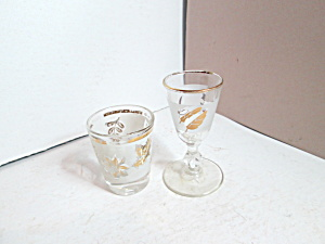 Vintage Libbey Golden Leaf Liquor& Shot Glasses