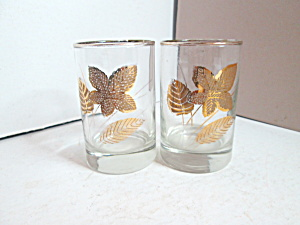 Vintage Libbey Gold Leaf Small Flat Juice Glasses