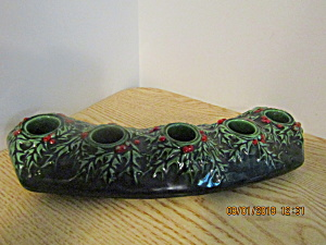 Vintage Green Holly Five-base Candle Holder