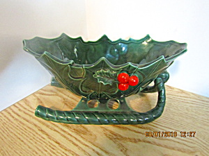 Vintage Lefton Green Holly Christmas Medium Sleigh
