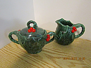 Lefton Green Holly Covered Sugar & Creamer Set