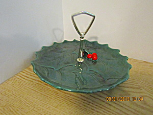 Vintaglefton Green Holly Serving Tray With Metal Handle