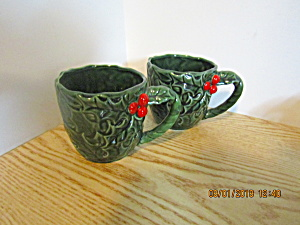 Vintage Lefton Green Holly Coffee/tea/punch Cup Set