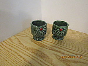 Vintage Lefton Green Holly Votive Candle Holders