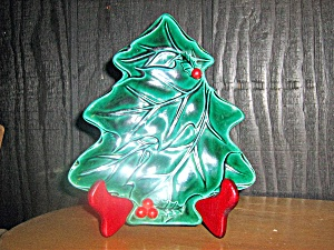 Lefton Green Holly Tree Shaped Plate