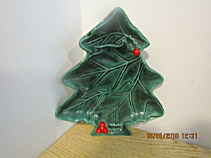 Vintage Lefton Green Holly Christmas Tree Dish