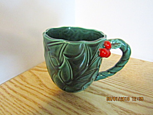 Vintage Lefton Green Holly Coffee/tea/punch Mug