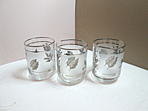 Vintage Libbey Silver Leaf Small Flat Tumblers