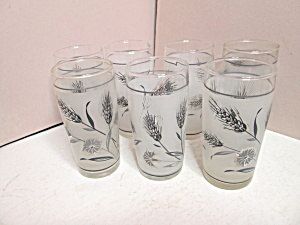 Vintage Libbey Silver Wheat Juice Glasses
