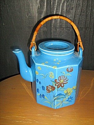 Mccoy Blue With Flowers Tea Pot