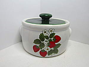 Vintage Mccoy Strawberry Country Covered Bean Dish
