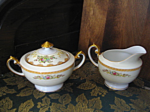 Meito China Hand Painted Creamer And Sugar Bowl
