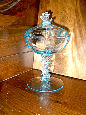 Vintage Fostoria Baroque Azure Blue Jelly Compote