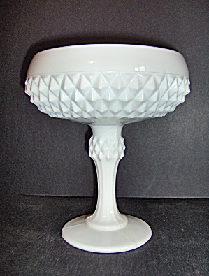 Milk Glass Hobnail Footed Nut Dish