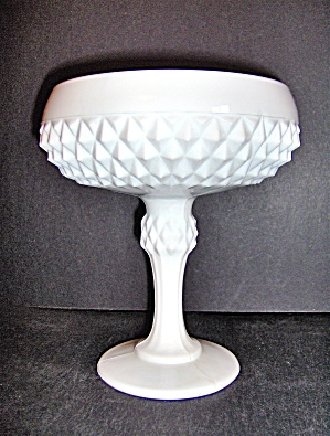 Milk Glass Diamond Point Pedestal Compote Dish