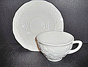 Vintage Milk Glass Harvest Cup & Saucer Set By Colony