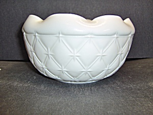Indiana Milk Glass Diamond Quilted Crimped Bowl