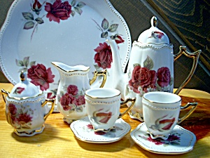 Miniature Red Rose Tea Set