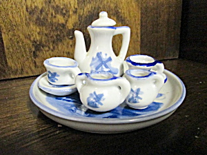 Vintage Blue Windmill Miniture Tea Set