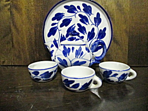 Vintage Blue Art Design Miniature Tea Set