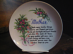 Vintage Mother's Poem Decorative Plate