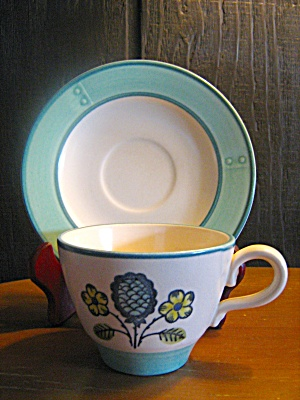 Metlox Poppytrail Blueberry Provincial Cup & Saucer Set