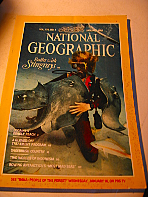 Vintage National Geographic Magazine January 1989