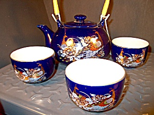 Blue Oriental Peacock Tea Set