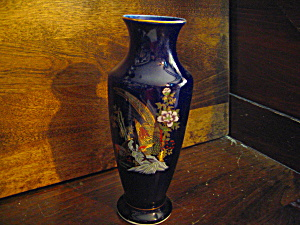 Dark Blue Peacock Hand Painted Vase
