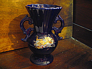 Dark Blue Peacock Doubled Handled Vase