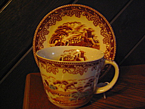 Oriental Large Cup And Saucer Set