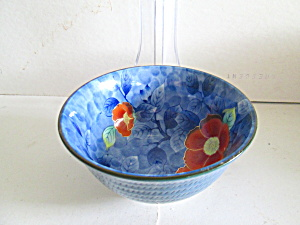 Vintage Original Blue And Orange Floral Rice Bowl