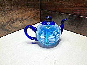 Glass Blue/white Teapot Shaped Paperweight
