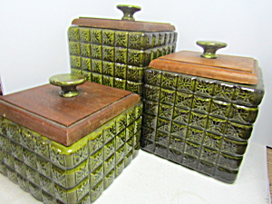 Vintage Glass Avocado Square Canister Set