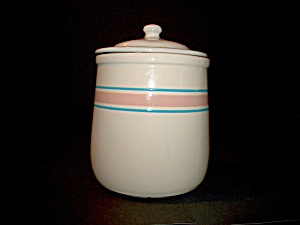 Vintage Mccoy Medium Canister Pink/blue Stonecraft
