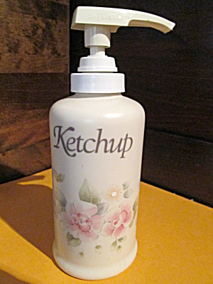 Pfaltzgraff Tea Rose Ketchup Decanter Pump Bottle