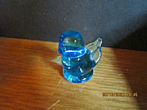Vintage Heavy Glass Paperweight Little Blue Bird (Image1)